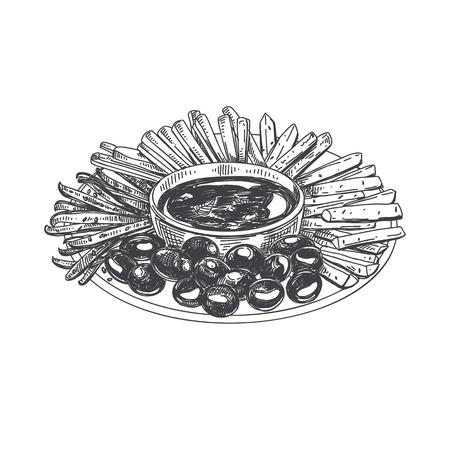 美しいベクトル手描きの指食品イラスト。詳細なヴィンテージスタイルの画像で野菜のスナックとプレートを提供しています。  イラスト・ベクター素材