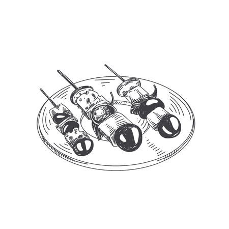 Beautiful vector hand drawn finger food Illustration. Serving plate with canape in Detailed vintage style images.