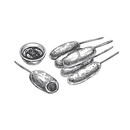 美しいベクトル手描きの指食品イラスト。コーン・ドッグス詳細なレトロなスタイルの画像。ラベルやカードデザインのためのヴィンテージスケッ