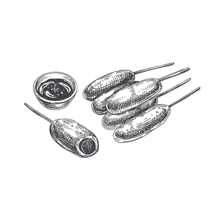 Beautiful vector hand drawn finger food Illustration. Corn Dogs. Detailed retro style images. Vintage sketch element for labels and cards design.