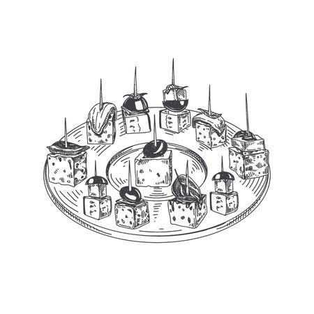 美しいベクトル手描きの指食品イラスト。詳細なヴィンテージスタイルの画像でカナッペとプレートを提供しています。
