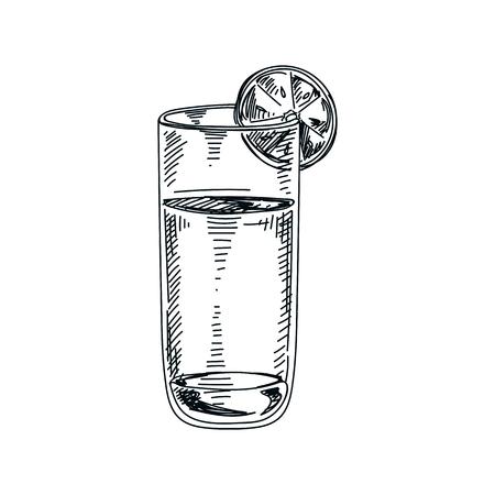 Beautiful vector hand drawn beverage Illustration. Watter.  Detailed retro style drink image. Vintage sketch Element for labels design.