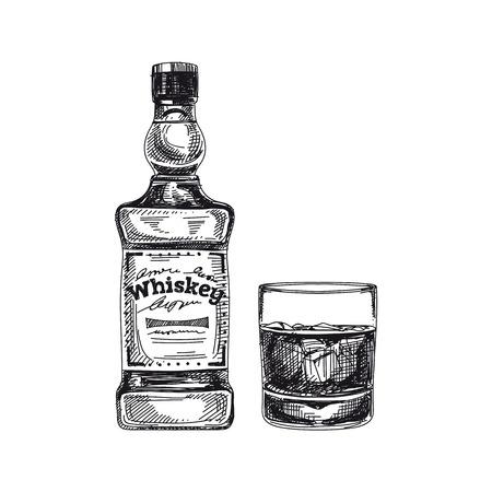 Beautiful vector hand drawn beverage Illustration.  Detailed retro style alcoholic drink image. Vintage sketch Element for labels design. Illustration