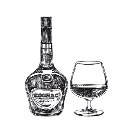 Beautiful vector hand drawn beverage Illustration.  Detailed retro style alcoholic drink image. Vintage sketch Element for labels design. 向量圖像