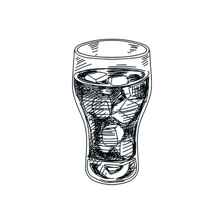 Ejemplo dibujado mano hermosa de la bebida del vector Imagen detallada del refresco del estilo retro. Elemento del bosquejo de la vendimia para el diseño de etiquetas. Foto de archivo - 93655310