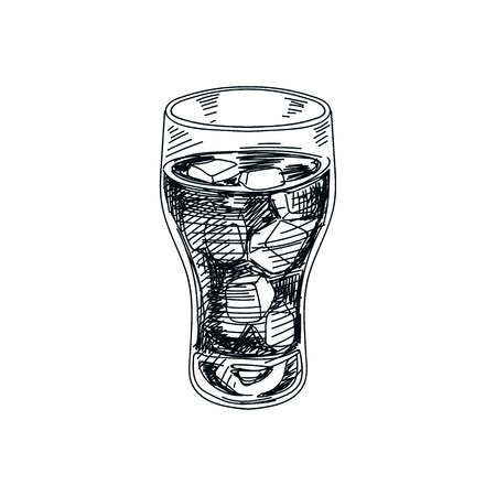 Beautiful vector hand drawn beverage Illustration.  Detailed retro style soft drink image. Vintage sketch Element for labels design.