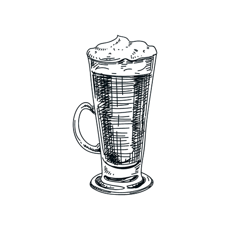 Beautiful vector hand drawn beverage Illustration.  Detailed retro style latte macchiato image. Vintage sketch Element for labels design.
