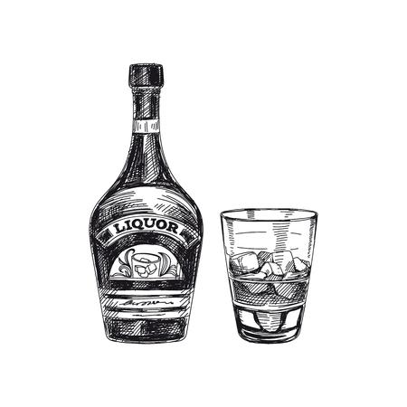 Belle illustration vectorielle boisson tirée par la main. grande détaillée design rétro boisson alcoolisée . vintage frame element for design d & # 39 ; étiquette Banque d'images - 93740133
