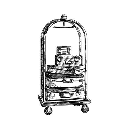 ●美しいベクトル手描きヴィンテージスーツケーストロリーイラスト。詳細なレトロなスタイルの画像。ラベルとカードデザインのスケッチ要素。