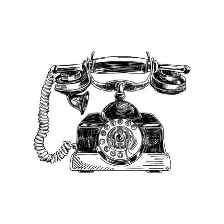 Beautiful vector hand drawn vintage telephone  Illustration. Detailed retro style images. Sketch element for labels and cards design.
