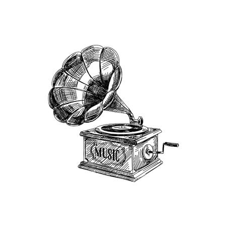 Prachtige vector hand getekend vintage grammofoon illustratie. Gedetailleerde afbeeldingen in retrostijl. Schetselement voor labels en kaarten ontwerpen.