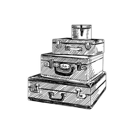 ●美しいベクトル手描きヴィンテージスーツケーススタックイラスト。詳細なレトロなスタイルの画像。ラベルとカードデザインのスケッチ要素。