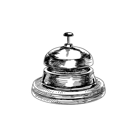 Beautiful vector hand drawn vintage bell Illustration. Detailed retro style images. Sketch element for labels and cards design.