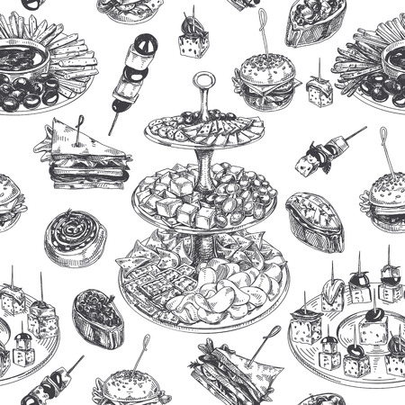 Beautiful hand drawn Appetizer Illustration Vettoriali