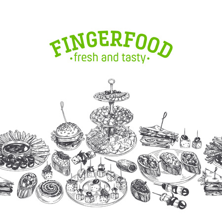 Beautiful vector hand drawn Appetizer Illustration. Detailed retro style images. Vintage sketch repeated background. Seamless border. Elements collection for design. Vettoriali