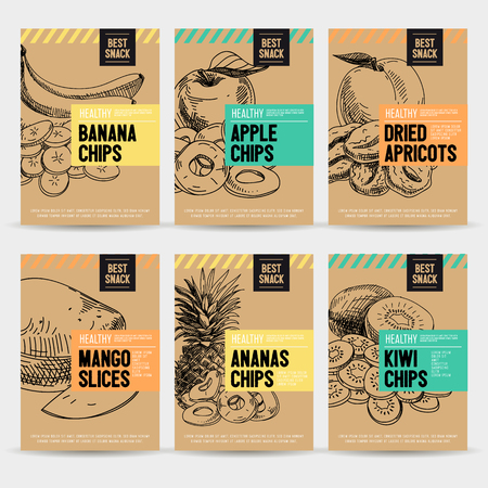 Beautiful vector hand drawn healthy snack card set. Detailed trendy style images. Modern sketch elements collection for packaging design. Ilustração