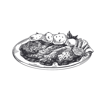 Gezeichnete österreichische Lebensmittel Illustration des schönen Vektors des Schnitzels Hand. Ausführliche Retro Artbilder. Weinleseskizzenelement für Aufkleber und Kartendesign.
