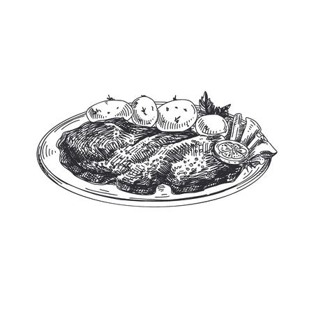 Schnitzel Hermoso vector dibujado a mano comida austríaca ilustración. Imágenes detalladas de estilo retro. Elemento de boceto vintage para diseño de etiquetas y tarjetas.