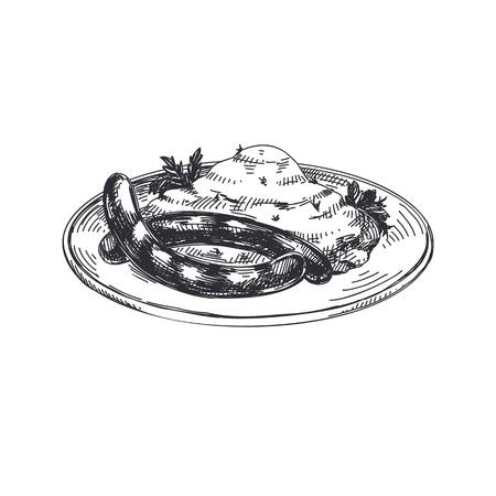 아름 다운 벡터 손으로 그려진 된 오스트리아 음식 일러스트 레이 션. 자세한 복고 스타일 이미지. 빈티지 스케치 요소 레이블 및 카드 디자인입니다.