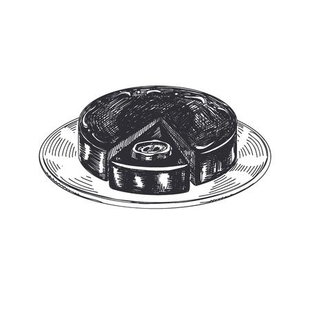Gâteau viennois. Illustration vectorielle de nourriture autrichienne dessiné à la main belle main. Images de style rétro détaillées. Élément de croquis vintage pour la conception des étiquettes et des cartes. Banque d'images - 94400433