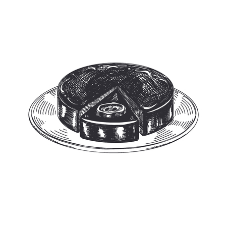 Viennese cake. Beautiful vector hand drawn austrian food Illustration. Detailed retro style images. Vintage sketch element for labels and cards design.