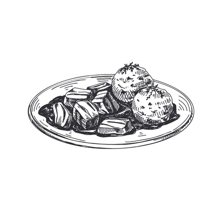 Goulash with dumplings. Beautiful vector hand drawn austrian food Illustration. Detailed retro style images. Vintage sketch element for labels and cards design.