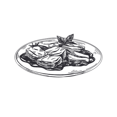Beautiful vector hand drawn Austrian food illustration. Detailed retro style images. Vintage sketch element for labels and cards design.  イラスト・ベクター素材
