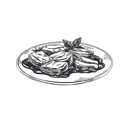 ●美しいベクター手描きのオーストリア料理イラスト。詳細なレトロなスタイルの画像。ラベルやカードデザインのためのヴィンテージスケッチ要  イラスト・ベクター素材
