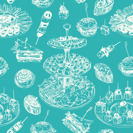 Beautiful vector hand drawn Appetizer seamless pattern. Detailed retro style images. Vintage sketch repeated background. Seamless pattern. Elements collection for design.