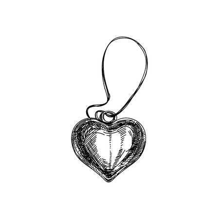 Beautiful vector hand drawn vintage heart shaped necklace. Иллюстрация