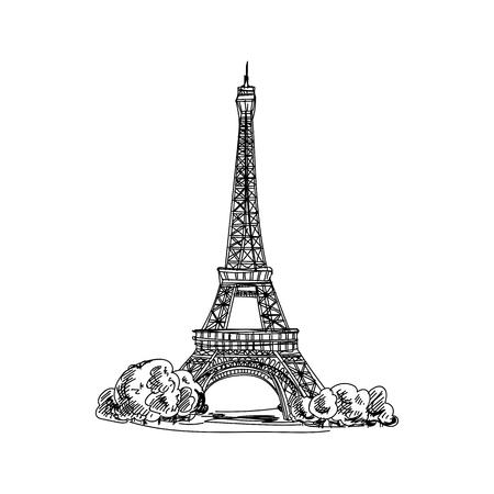Hermoso vector dibujado a mano vintage Francia arquitectura ilustración. Imágenes detalladas de estilo retro. Elemento de boceto para diseño de etiquetas y tarjetas.