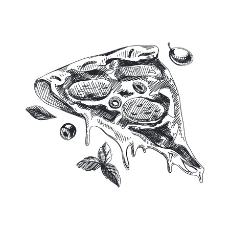 Beautiful vector hand drawn piece of pizza Illustration on white background.