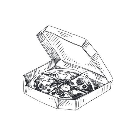 包装カートンイラストで美しいベクターハンド描きピザ。詳細なレトロスタイルのライチ画像。ラベルのヴィンテージスケッチ。デザイン用の要素