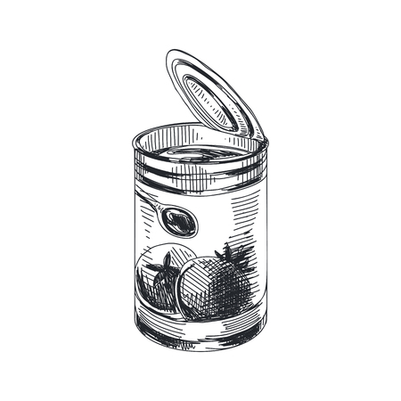 Beautiful vector hand drawn Tomato sauce in the can Illustration. Detailed retro style lychee image. Vintage sketch for labels. Elements collection for design.