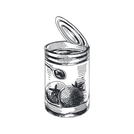 Hermoso vector dibujado a mano salsa de tomate en la lata ilustración. Imagen detallada de lichi de estilo retro. Boceto vintage para etiquetas. Colección de elementos para el diseño.