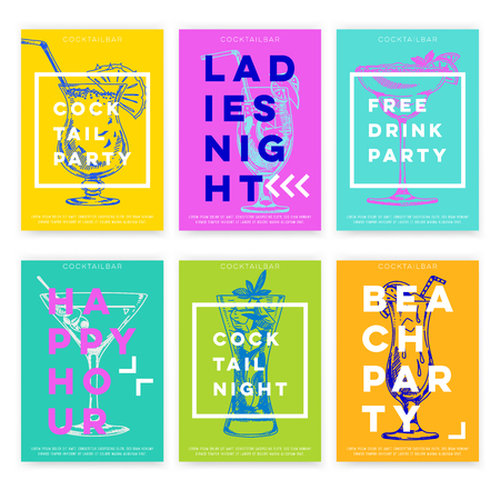 Beautiful vector hand drawn coctail bar card set. Detailed trendy style images. Modern sketch elements collection for packaging or cards design.