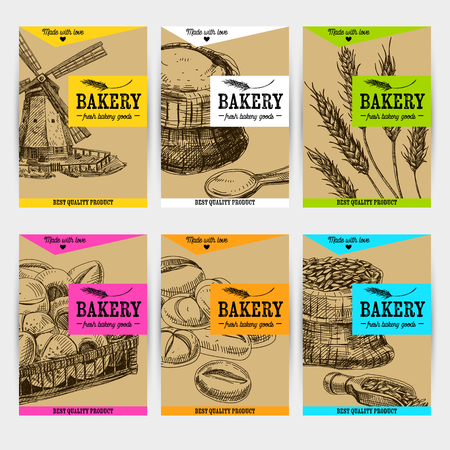 Beautiful vector hand drawn bakery card set. Detailed trendy style images. Modern sketch elements collection for packaging or cards design. Vettoriali