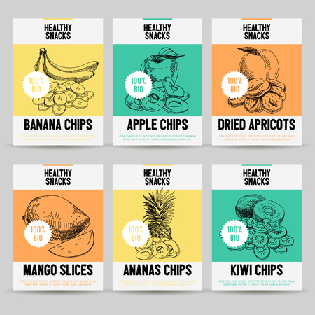 Beautiful vector hand drawn healthy snack card set. Detailed trendy style images. Modern sketch elements collection for packaging design. Vettoriali