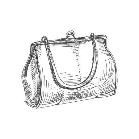 Beautiful vector hand drawn vintage bag Illustration. Detailed retro style image. Sketch element for labels and cards design. Foto de archivo - 97354767