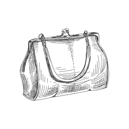 Beautiful vector hand drawn vintage bag Illustration. Detailed retro style image. Sketch element for labels and cards design.