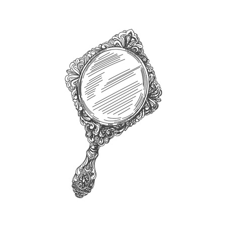 hand mirror sketch. Beautiful Vector Hand Drawn Vintage Mirror Illustration. Detailed Retro Style Image. Sketch Element