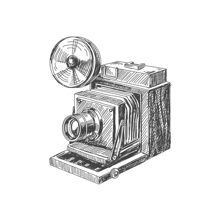 Beautiful vector hand drawn vintage camera Illustration. Detailed retro style image. Sketch element for labels and cards design.