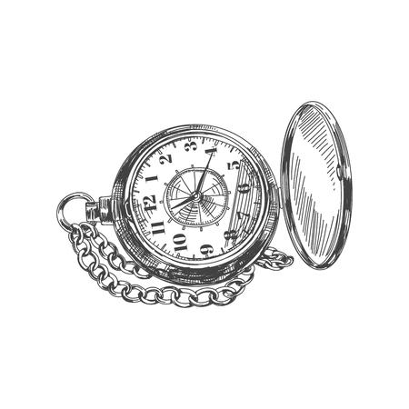 Hermoso vector dibujado a mano vintage reloj de bolsillo ilustración. Imagen detallada de estilo retro. Elemento de boceto para diseño de etiquetas y tarjetas.