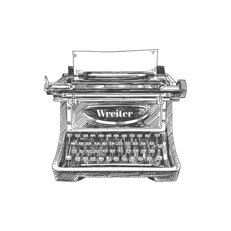 Beautiful vector hand drawn vintage typewriter Illustration. Detailed retro style image. Sketch element for labels and cards design.  イラスト・ベクター素材