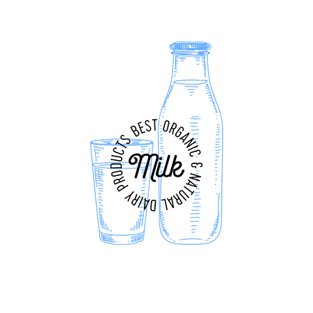 Beautiful vector hand drawn dairy logo. Detailed retro style illustration. Vintage sketch for labels design.