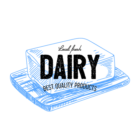 Beautiful vector hand drawn dairy label. Ilustracja