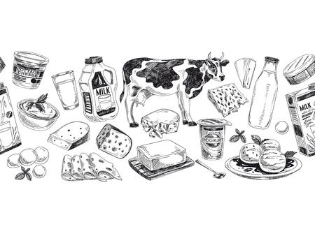 Illustration vectorielle de produits laitiers dessinés à la main. Fond de style rétro détaillé. Croquis vintage répété fond. Bordure transparente. Collection d'éléments pour la conception.