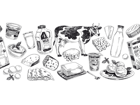 Beautiful vector hand drawn dairy products illustration. Detailed retro style background. Vintage sketch repeated background. Seamless border. Elements collection for design.