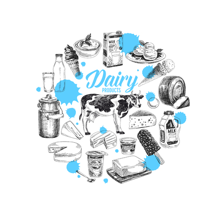 Beautiful vector hand drawn dairy products Illustration.