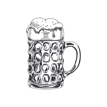 Beautiful vector hand drawn beer in a beer mug Illustration. Detailed retro style images. Vintage sketch element for labels and cards design.